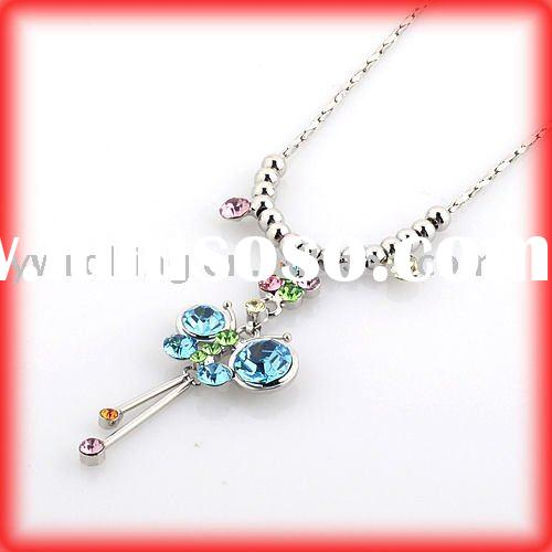 color butterfly necklace/fashion necklace/fashion jewelry/imitation jewerly/alloy necklace