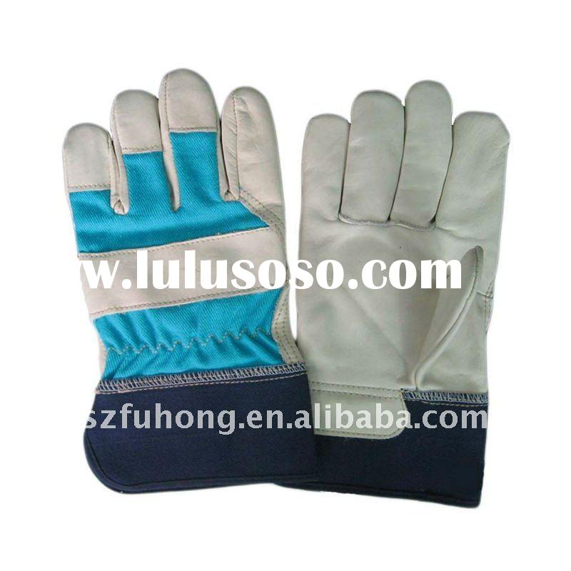 cow grain leather garden gloves for construction work
