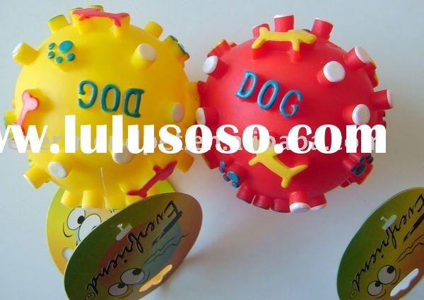 dog toy Spikey ball toys-ball with dog paw print,red,yellow vinyl dog toy,pet product