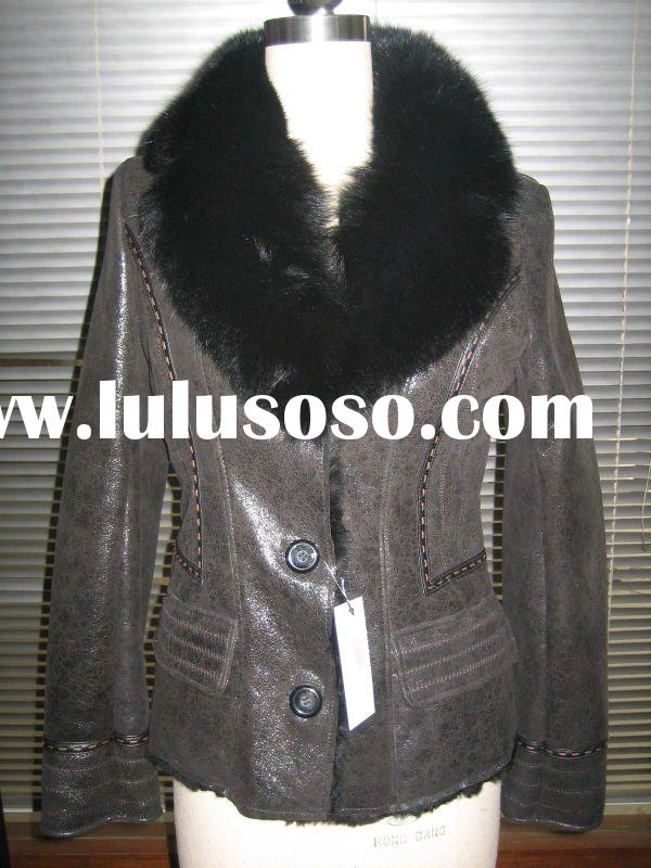 double face sheep fur jacket with fox collar