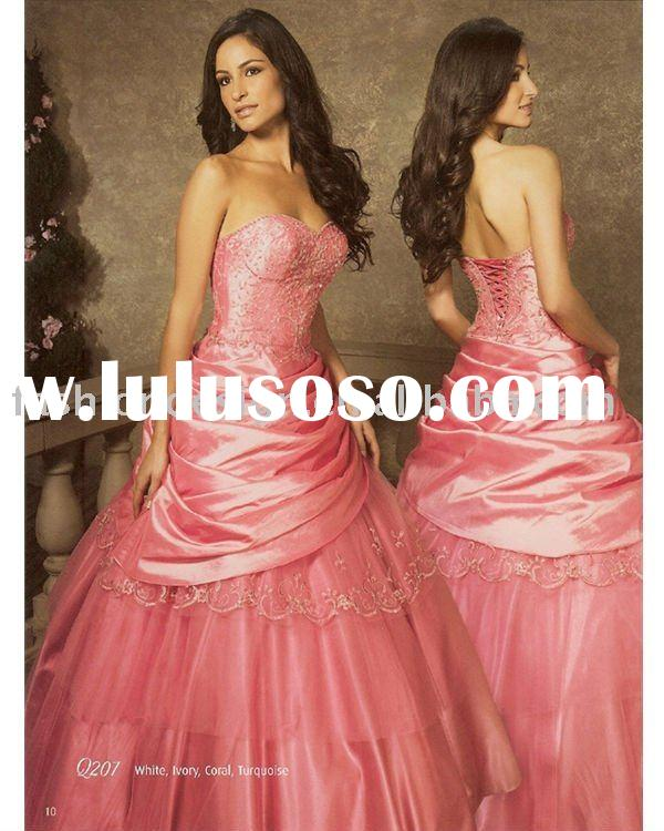 elegant coral beaded Quinceanera Ball gowns,bridesmaid prom dresses QB032