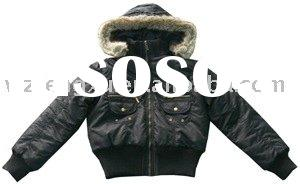 fake fur hooded PU jackets for ladies