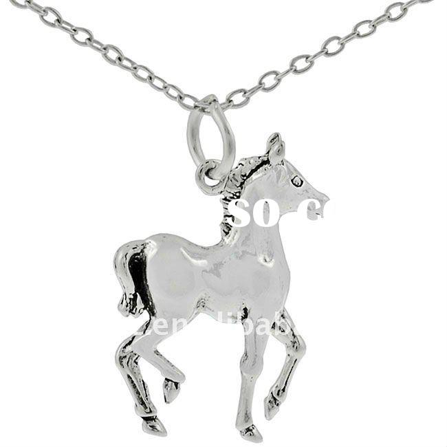 fashion antique silver horse pendant necklace jewelry