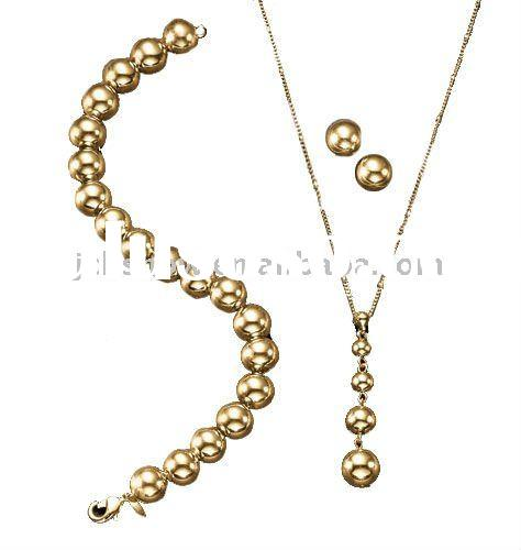 fashion brass beads charm necklace, bracelet and earring set