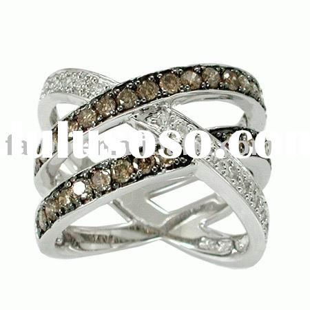 fashion chocolate diamond ring/18k/14k/10k yellow/whit/pink gold/diamond ring