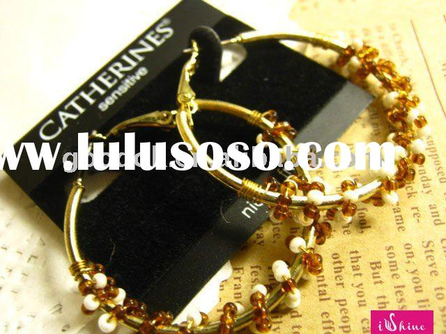 fashion gold earrings hoops with crystal beads