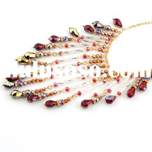 fashion latest beaded bib pendent necklace wholesale accessories