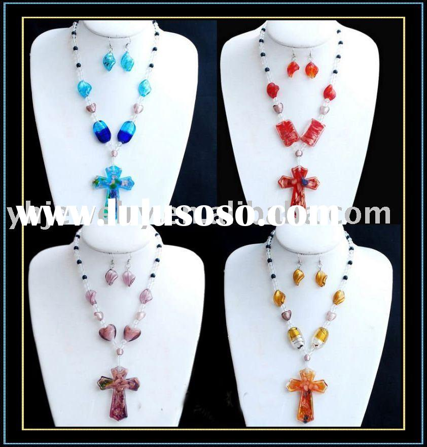 fashion murano glass necklace and earring set