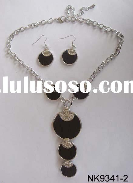 fashion necklace set/black bead pendant earrings and necklaces/unique style jewelry set/imitation je