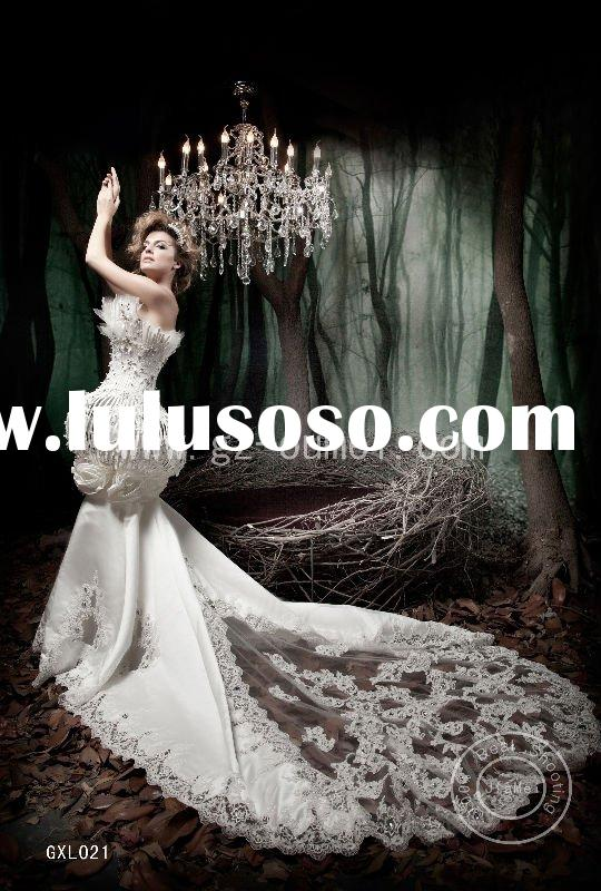 fashion wedding gown lace bead shape mermaid bridal gown