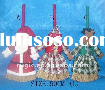 felt Santa Claus Christmas besom decoration, reindeer Christmas broom decoration, snowman felt sweep