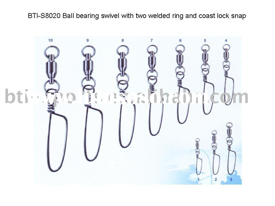 fishing product SS two welded ball bearing swivel with coast lock snap