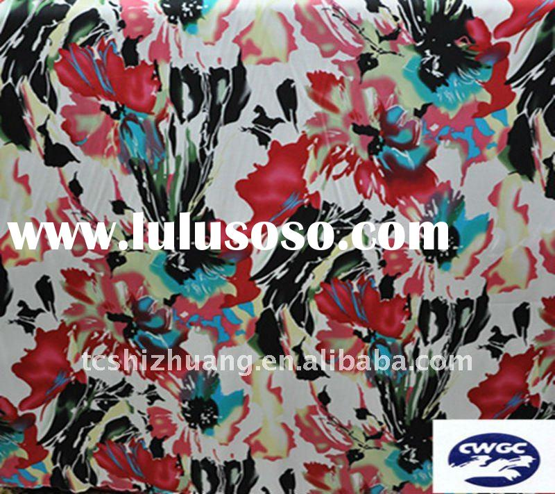 flower print silk stretch satin fabric for Cheongsam and dress making