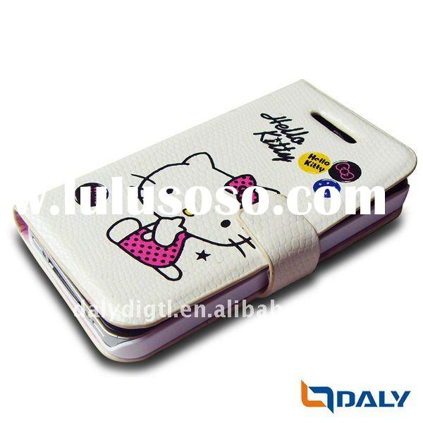 folding design mobile phone pu leather cover case for i phone 4