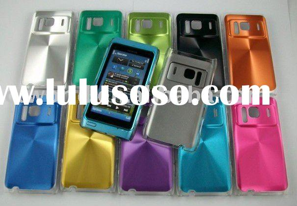 for Nokia N8 PC case with aluminum sticker mobile phone cover with diamond design