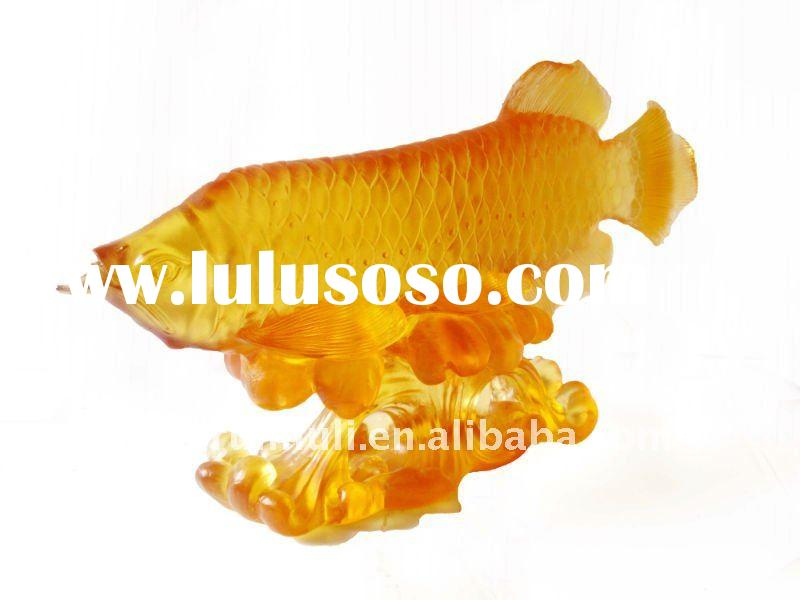 glass art--home decoration--Golden Arowana fish--BS211