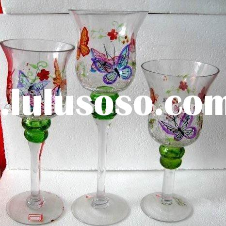 glassware set of 3 hand painted butterfly glass candle holder