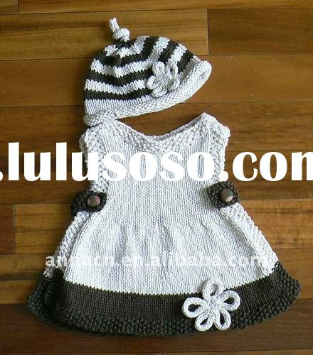 gril's hand crocheted cotton cute dress hat set
