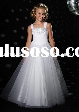 gs049 New coming 2011 tulle beaded children evening gowns flower girl dresses