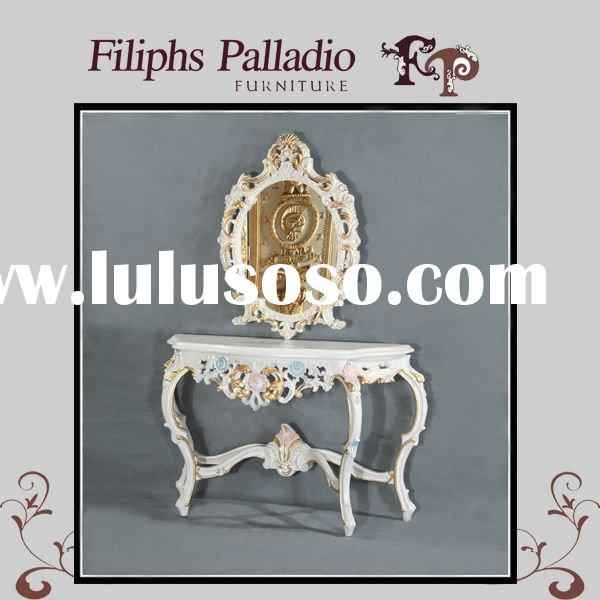hand carved wooden furniture - solid wood baroque leaf gilding console table