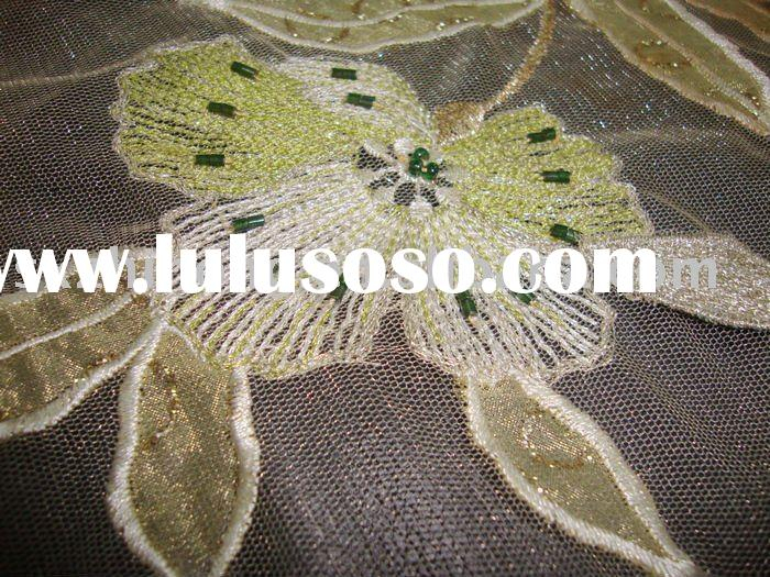 hand embroidery fabric for wedding dress border design