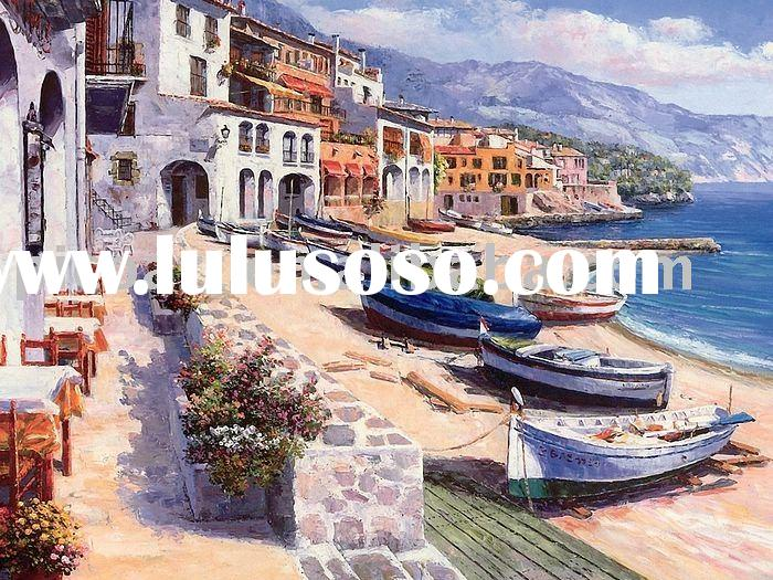 hand painted landscape oil painting(Boats of Calella)