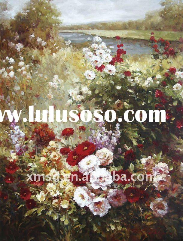 handmade garden oil painting on canvas