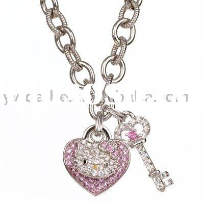 hello kitty necklace with lock and key pendant,fashion necklace(ALNB-2694)