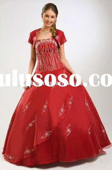 hot red quinceanera dress with jacket bolero wlf599