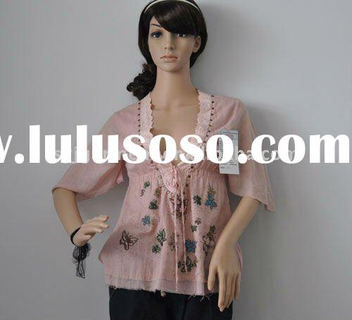 ladies' blouses/embroidery blouse/lady's top/fashion blouses/lady's wear/lad