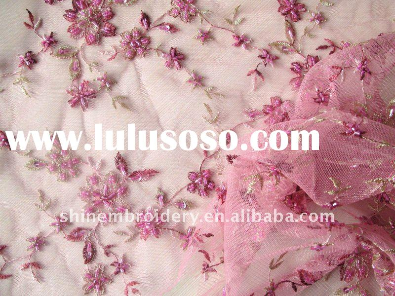 light pink tulle fabric with handwork embroidery fabric for dress