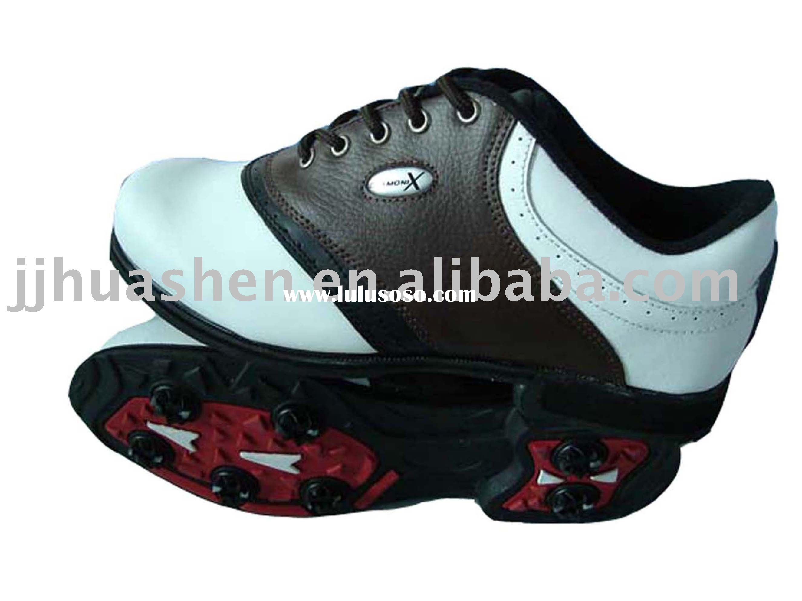 men rubber outsole leather golf shoes