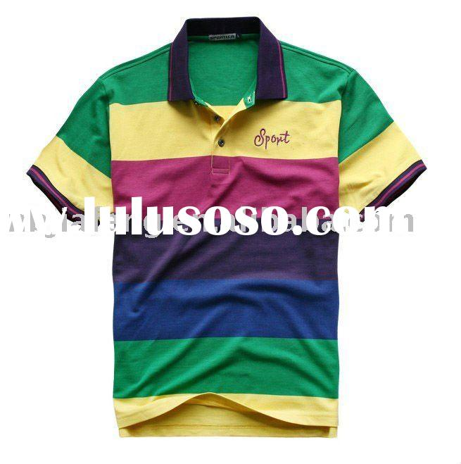 men's short sleeve cotton striped polo t-shirt