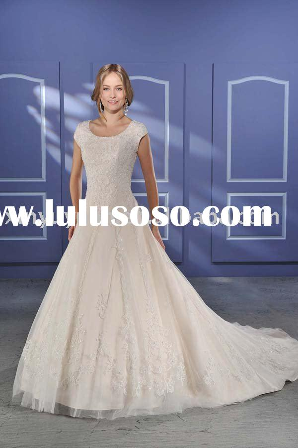 modest new designer tulle wedding dresses with short sleeves BOW-035