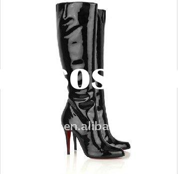 patent leather women black high heel shoes simple style women boots