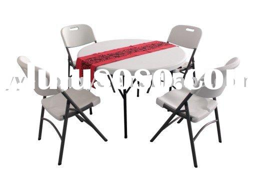 plastic round folding tables and chairs