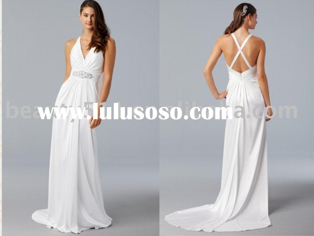 popular simply style backless beach wedding dress ql4040