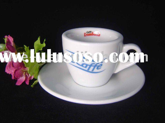 porcelain espresso cup and saucer with logo printing, thick wall