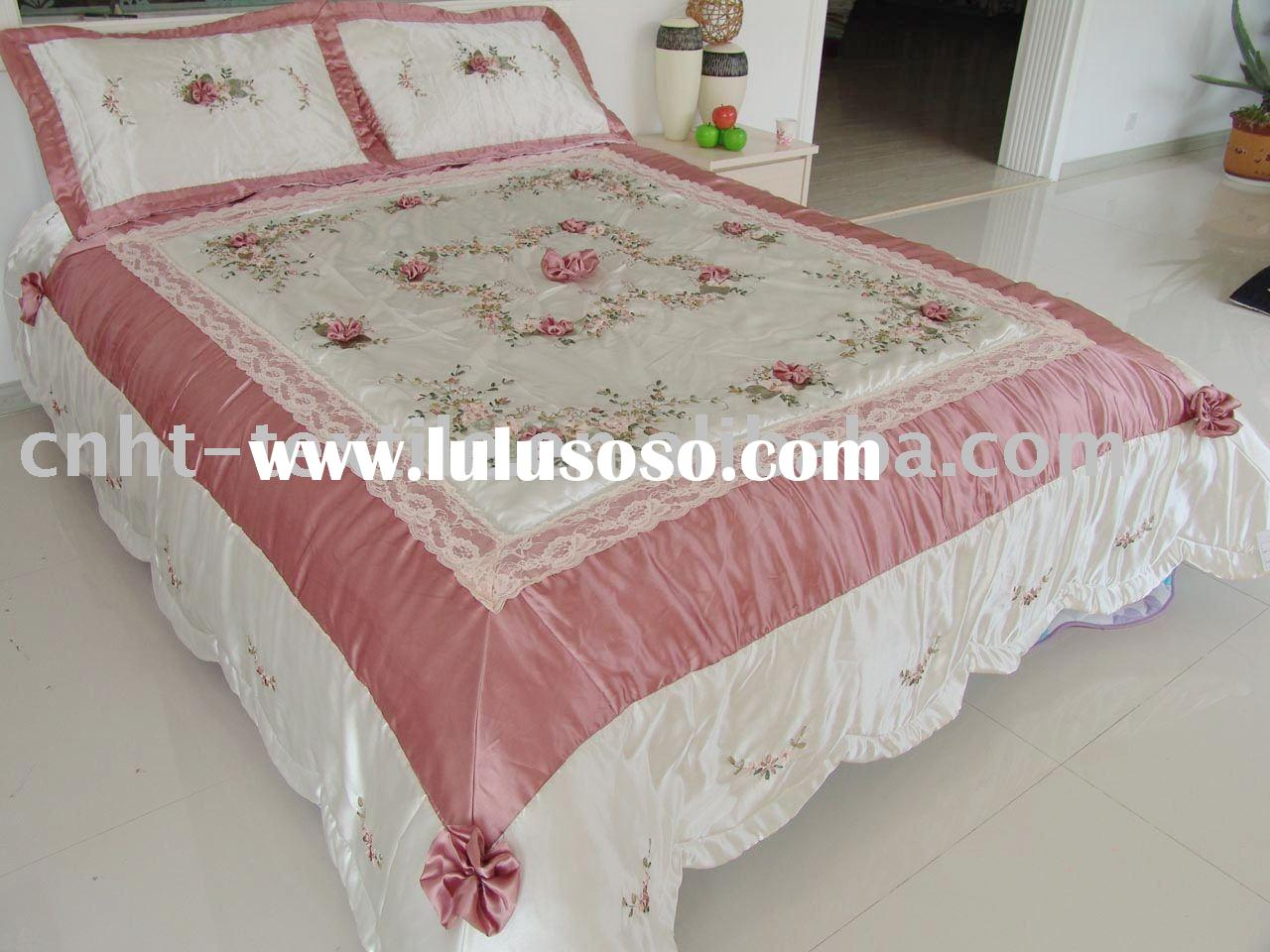 ribbon embroidery quilt cover and pillow