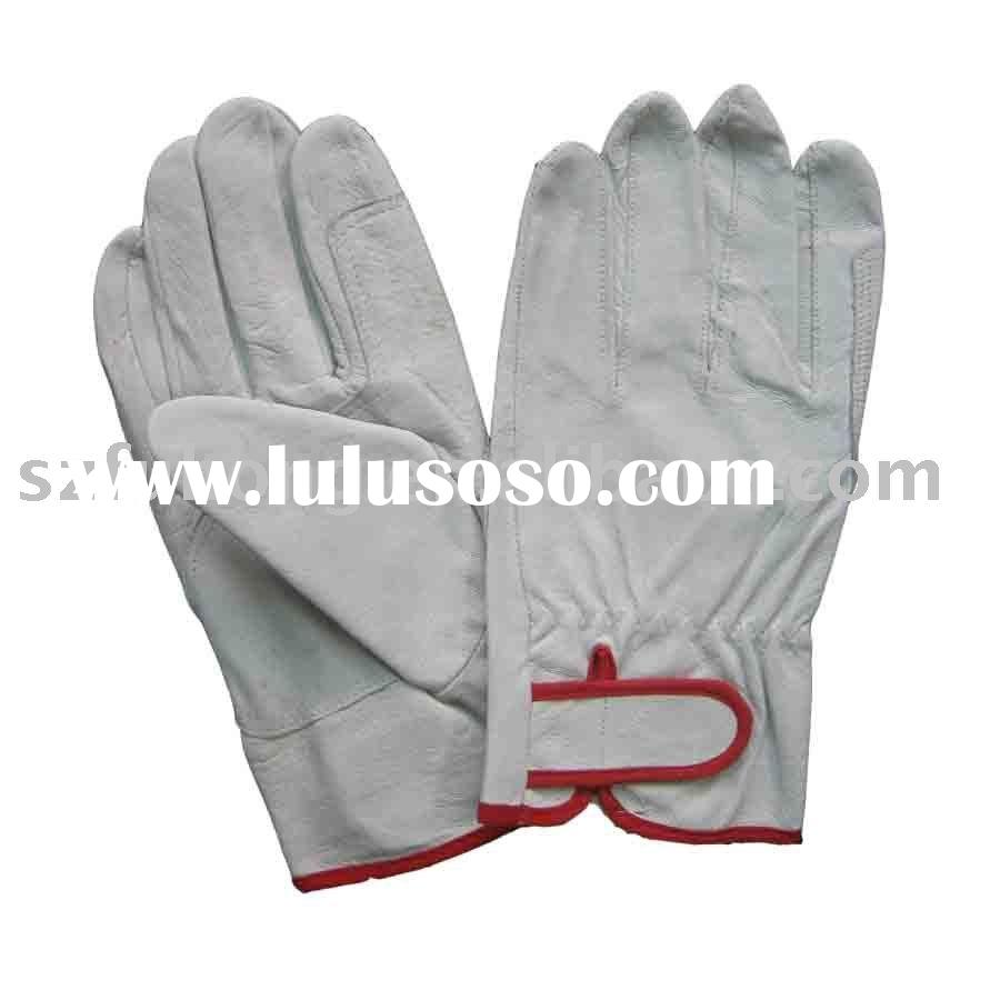 safety white pigskin leather driving gloves in industry work