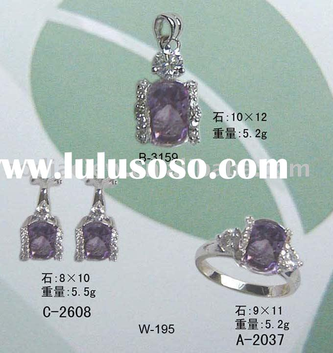 silver jewelry set with cubic zirconia jewelry