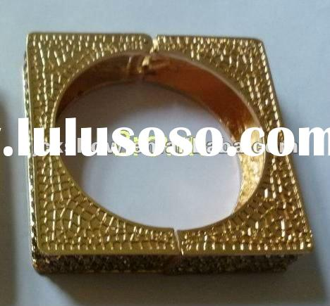 square crystal rhinestone bangles, brown color