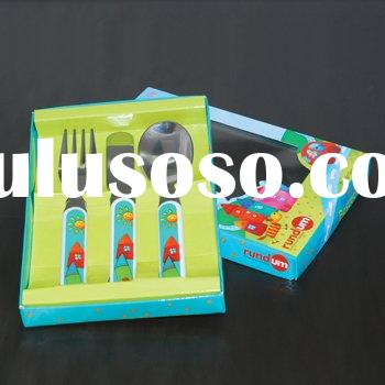 stainless steel children cutlery with plastic handle