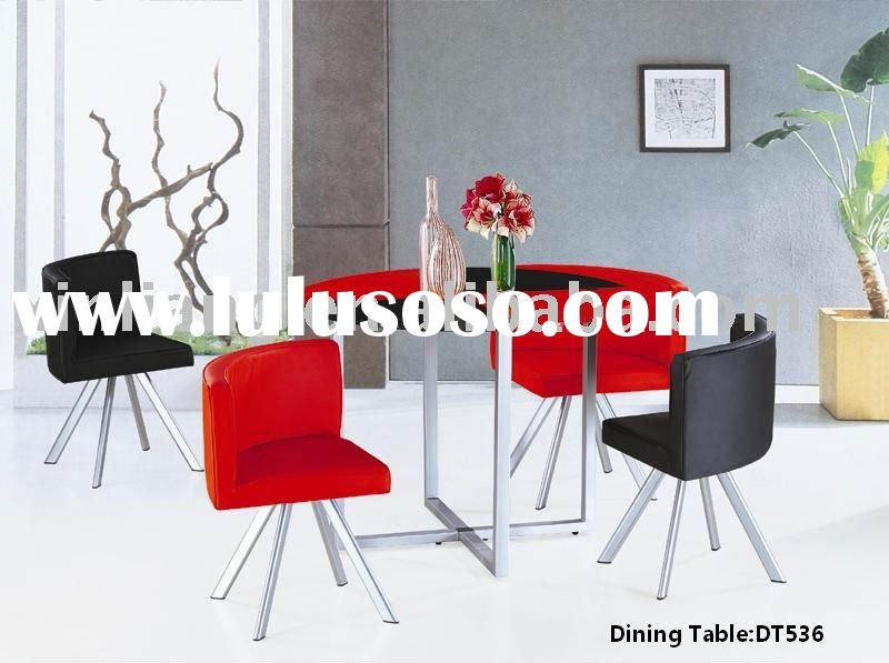 tempered glass and chromed metal legs dining table set 1+4