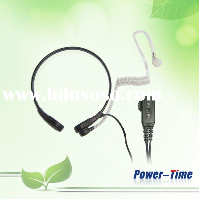 two way radio accessories, throat mic for 2way radio with acoustic tube speaker and two wire PTT/VOX