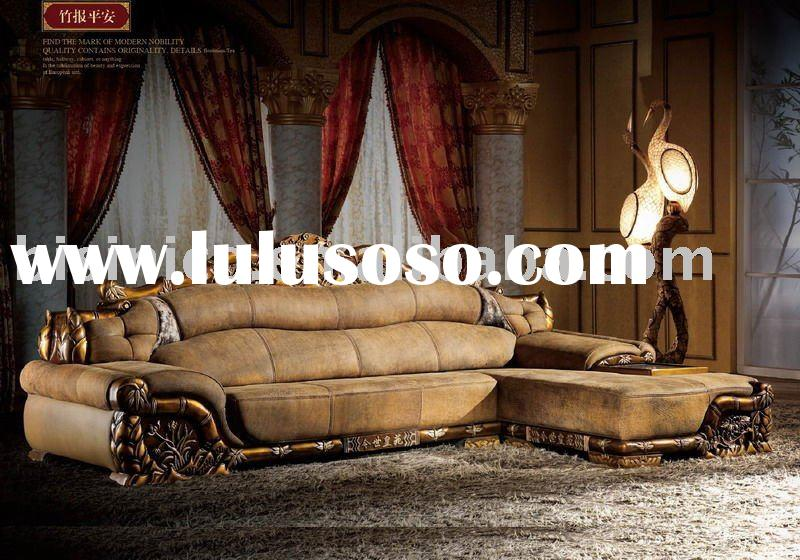 very comfortable and luxury antique european style genuine leather sofa set. chesterfield sofa. vill