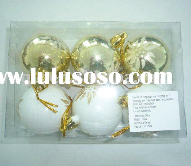 white plastic christmas tree ornament ball/ christmas ball hand painted gold design