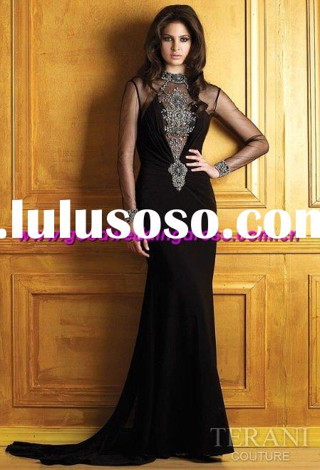 whoelsale hot sale backless hand made prom dress/evening gown/long sleeve evening dresses