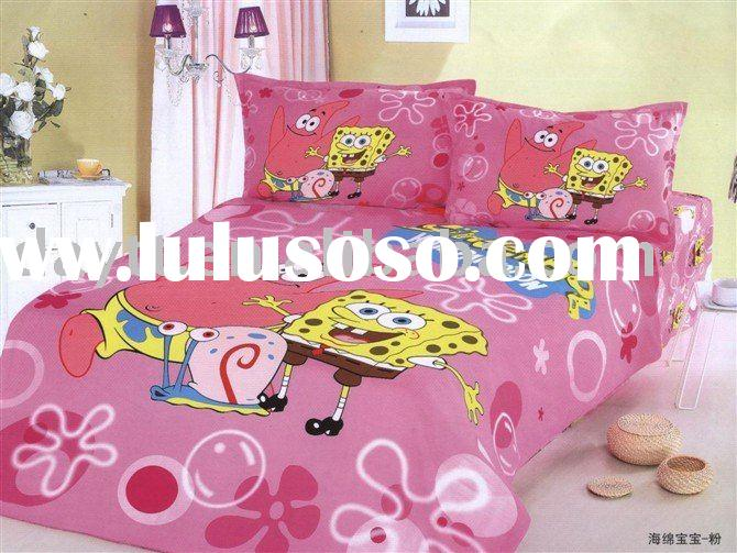 wholesale 3pcs/set spoonge bob beding set for kids children's bedding set lovely style on sa