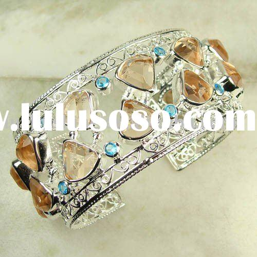 wholesale vintage bracelet morganite and blue topaz gemstone jewelry